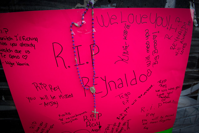 Poster memorializing Reynaldo Cuevas, 20, after he was shot Sept. 7, 2012.