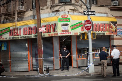 Aneurys Deli, where bodega worker Reynaldo Cuevas, 20, was fleeing a robbery and was shot by a cop whose service weapon went off on September 7, 2012.