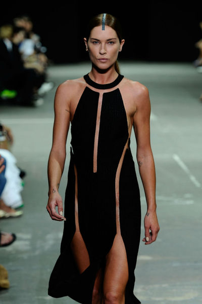 Model Erin Wasson at the Alexander Wang show at Pier 94 in Hell's Kitchen, Saturday, September 8, 2012.