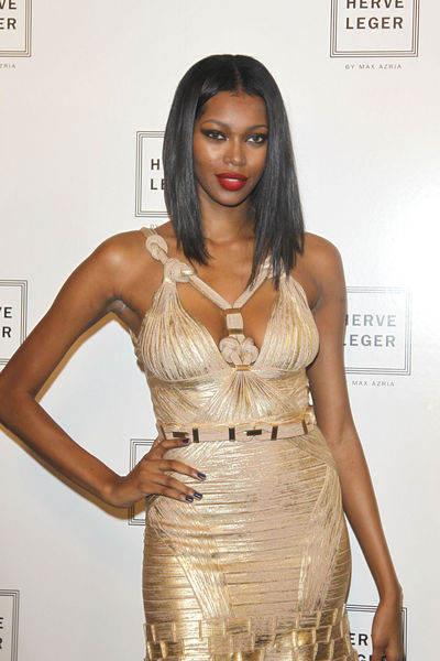 Jessica White at the Herve Leger by Max Azria show at the Lincoln Center tents, Saturday, September 8, 2012.