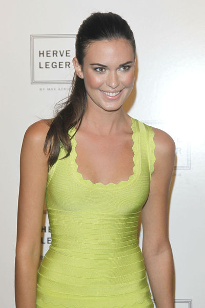 Odette Annable models at the Herve Leger by Max Azria show at the tents in at Lincoln Center, Saturday, September 8, 2012.