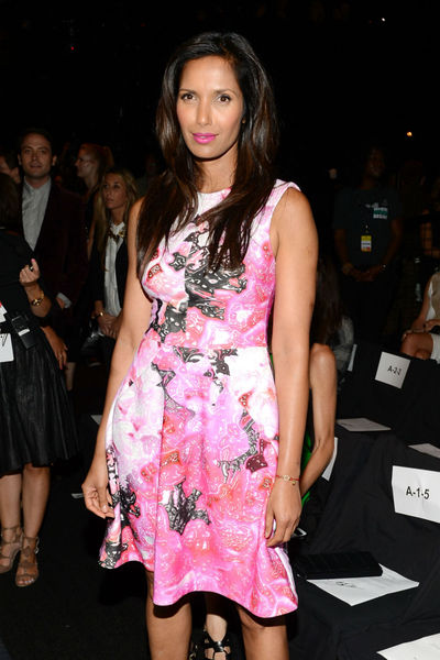 Padma Lakshmi at the Monique Lhuillier show at the tents at Lincoln Center, Saturday, September 8, 2012.