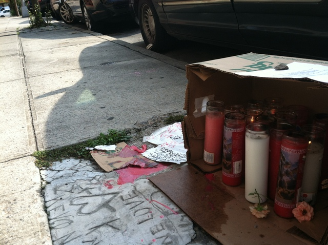 A memorial set up near the place where Kareem Holifield, 28, was shot on September 7, 2012.
