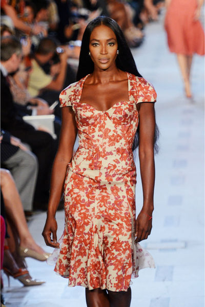 Naomi Campbell on the catwalk at the Zac Posen show on the Promenade at Avery Fisher Hall at the Lincoln Center Tents, Sunday, September 9, 2012.