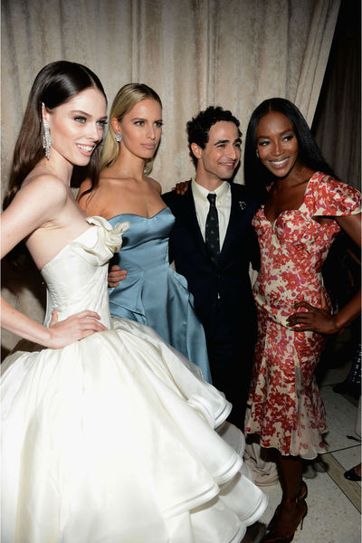 Coco Rocha, Karolina Kurkova, Zac Posen and Naomi Campbell at Posen's show on the Promenade at Avery Fisher Hall in Lincoln Center, Sunday, September 9, 2012.