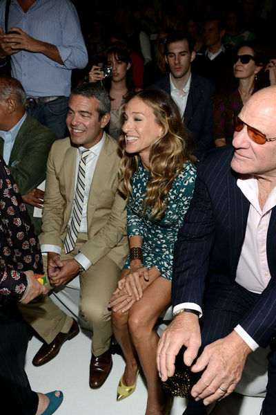 Andy Cohen, Sarah Jessica Parker and Barry Diller in the front row at the Diane von Furstenberg show at the Lincoln Center Tents, Sunday, September 9, 2012.