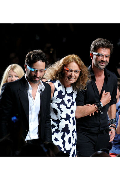 Sergey Brin, Diane vone Furstenberg, and Yvan Mispelaere taking their bow in