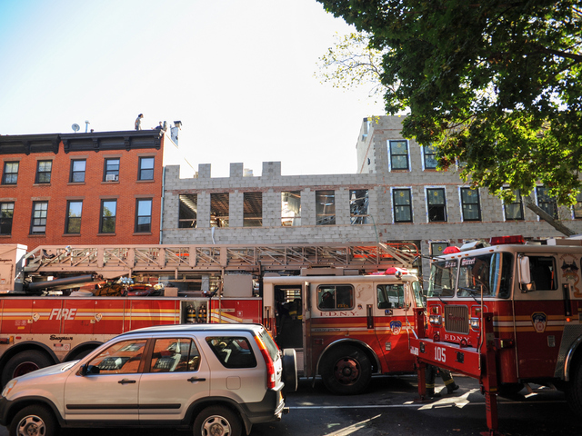 FDNY crews raced to 227 Carlton Avenue in Brooklyn, where a building collapsed on September 10, 2012.