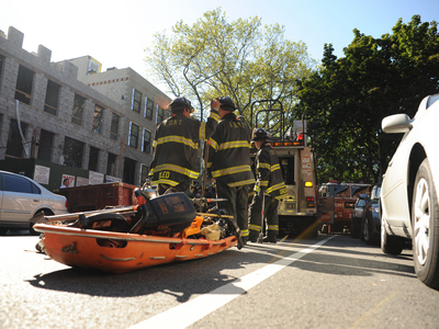 Firefighters rushed to 227 Carlton Avenue in Fort Greene for a building collapse on September 10, 2012.