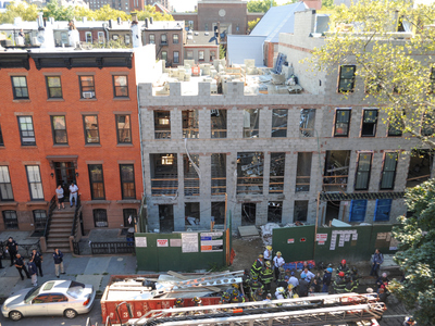 Emergency crews raced to 227 Carlton Avenue in Fort Greene, where a building collapsed on September 10, 2012.