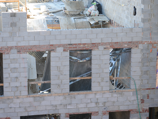 The scene of an interior collapse at a construction site at 214 Carlton Avenue in Brooklyn on Monday September 10th, 2012. Five people were injured.