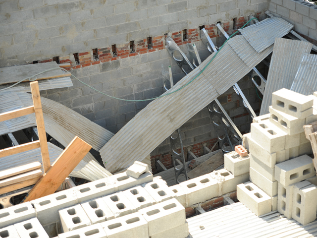 The top section of the building at 214 Carlton Avenue where one worker plunged to his death during a collapse on Monday September 10th, 2012.