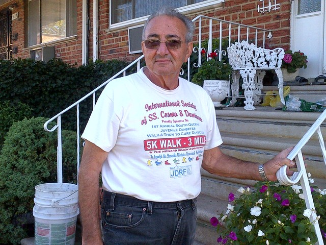 Anthony Cammarata, 76, spent his weekend cleaning up after a tornado battered his home on Saturday September 8, 2012.