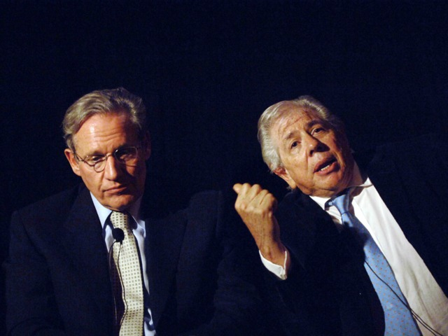 Journalists Bob Woodward and Carl Bernstein speak at the question and answer session of the screening of 'All The President's Men' the Tribeca Cinemas on July 19, 2005. Nora Ephron and Bernstein were formerly married and had two children together.