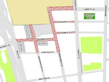 The blocks marked in red will be closed to vehicular traffic and will have limited pedestrian access Sept. 11, 2012.