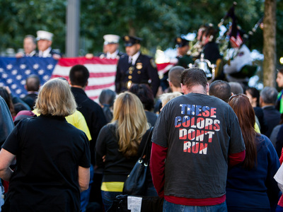 Family members of 9/11 victims gathered at the Lower Manhattan memorial Sept. 11, 2012.