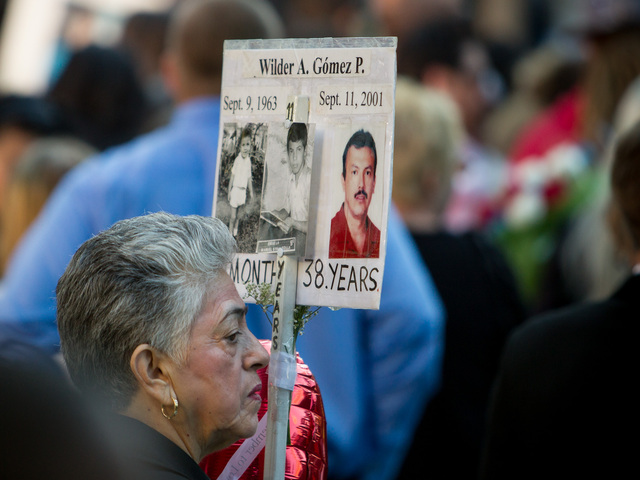 Family members of 9/11 victims gathered at a memorial ceremony in Lower Manhattan Sept. 11, 2012.