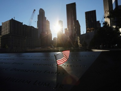 A flag at the 9/11 Memorial on the morning of the 11th anniversary Sept. 11, 2012.