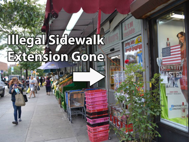 An photo illustration by Daniel Dromm's office shows the storefront after the extension removal.