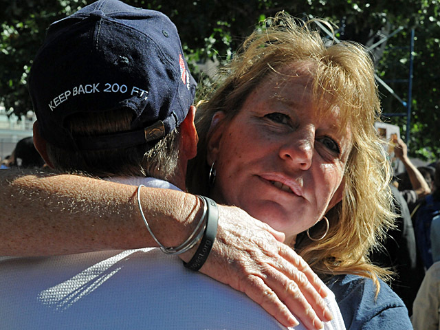 Gayle Cain, 48, mourned her brother-in-law George Cain, a firefighter with Ladder 7, at the 9/11 Memorial Sept. 11, 2012.