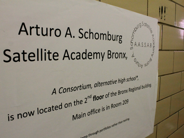 A new sign in Schomburg Satellite Academy.