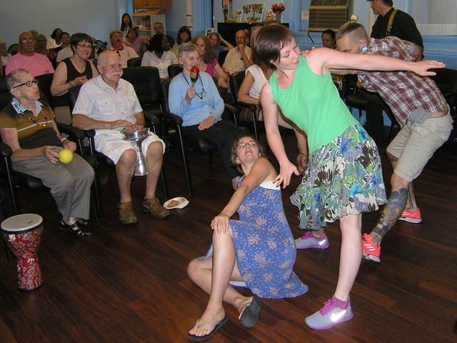 The New York Memory Center hosts a monthly free event where Alzheimer's patients do creative projects like dancing and singing.