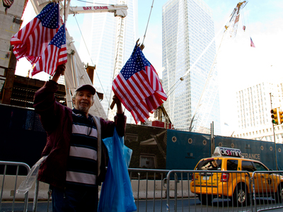 Street vendors  sell an assortment of Americana goods at the 11th anniversary of the Sept. 11, 2001 terrorist attacks.