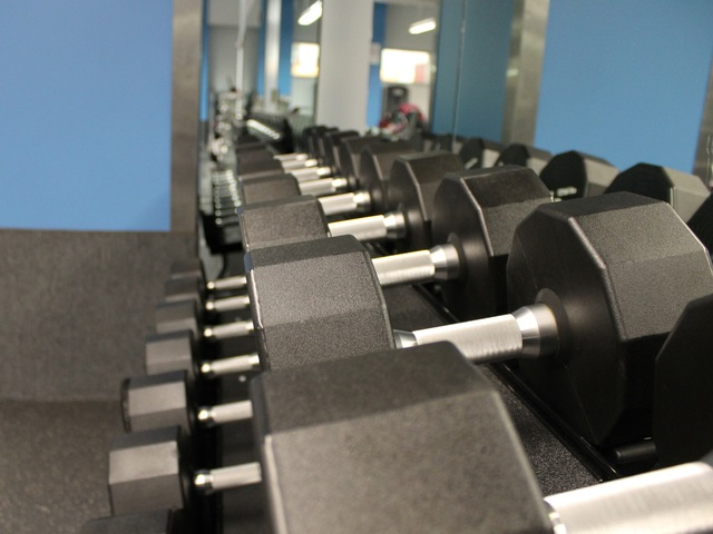 Dumbbells at the new McBurney YMCA strength training center.