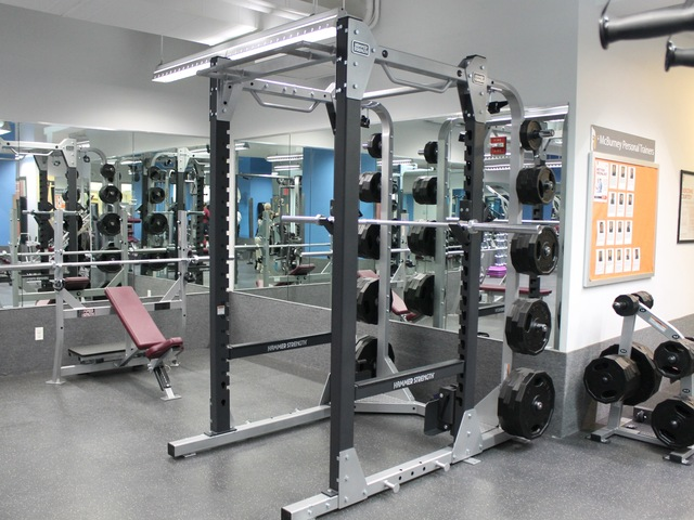 A squat rack at the new McBurney YMCA strength training center.