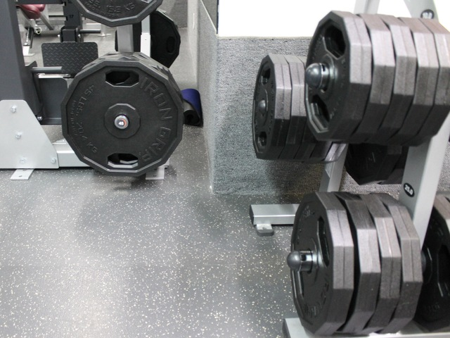 Weights at the new McBurney YMCA strength training center.