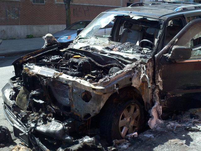 The fire destroyed the Lincoln Navigator.