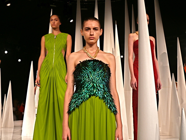 Mirano's embellished  green chiffon beetle gown with gold vertebrae halter strap.