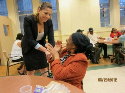 Mayra Linares greeted a voter at a meet-and-greet event in June.