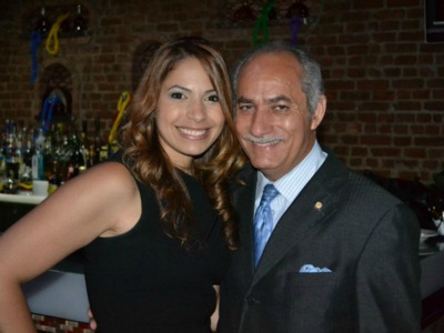 Mayra Linares poses with her father at her campaign kick-off event.