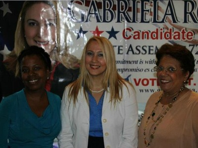 Assembly candidate Gabriela Rosa at a fundraiser with progressive women leaders.