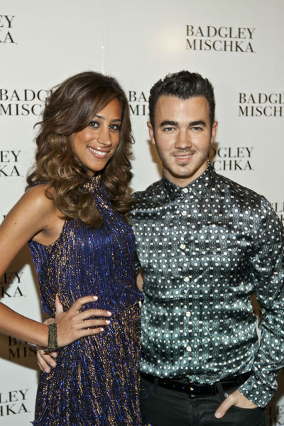 Danielle and Kevin Jonas at the Badgley Mischka show at the Lincoln Center Tents, Tuesday, September 11, 2012.