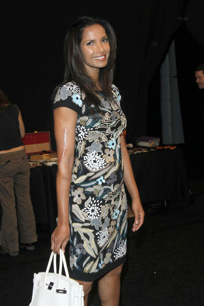 Padma Lakshmi at the Naeem Khan show at the Lincoln Center Tents, Tuesday, September 11, 2012.