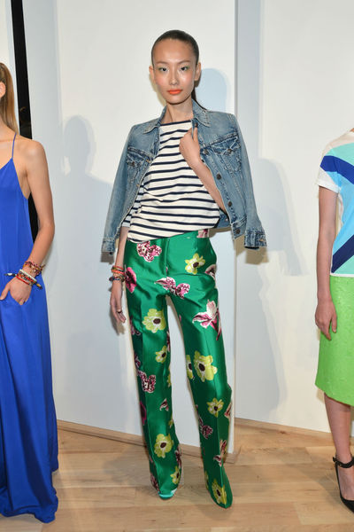 A J.Crew model, dressed similarly to its president Jenna Lyons, in patterned pants and a blue striped shirt at the J. Crew presentation at the Lincoln Center Tents, Tuesday, September 11, 2012.