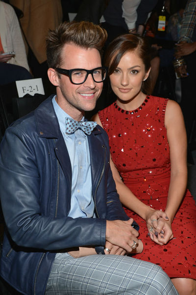 Brad Goreski and Minka Kelly at the Jenny Packham show at the Lincoln Center Tents, Tuesday, September 11, 2012.