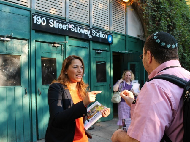 Mayra Linares campaigns at the 190th Street station Wednesday morning.