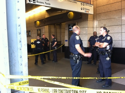 FDNY said two people were stabbed outside an LIRR station in Jamaica, Queens, Wednesday Sept. 12, 2012.