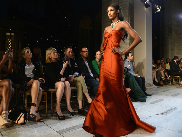 Models walk the runway at the Zac Posen Spring 2013 fashion show during Mercedes-Benz Fashion Week at Avery Fisher Hall, Lincoln Center on Sept. 9.