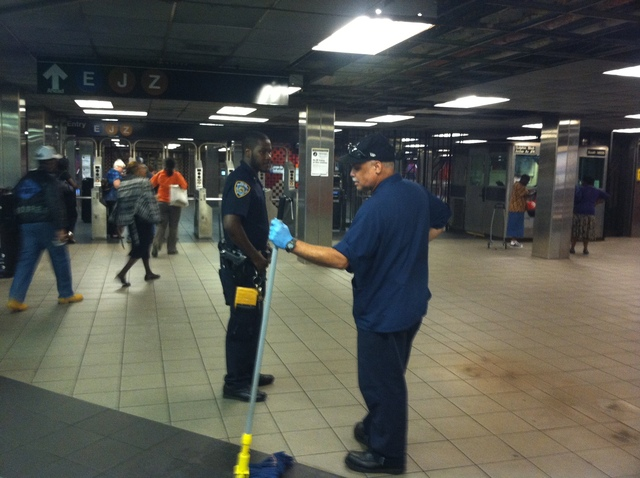 Two people were stabbed and one was injured inside an LIRR station in Jamaica, Queens, Wednesday Sept. 12, 2012.