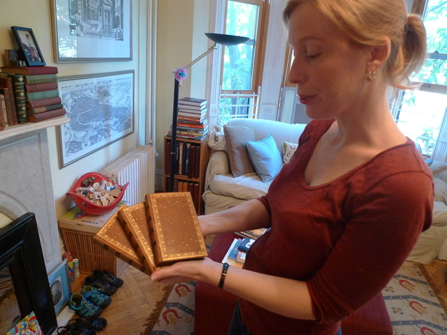 Heather O'Donnell of Honey & Wax Booksellers shows off her personal copy of Samuel Johnson's