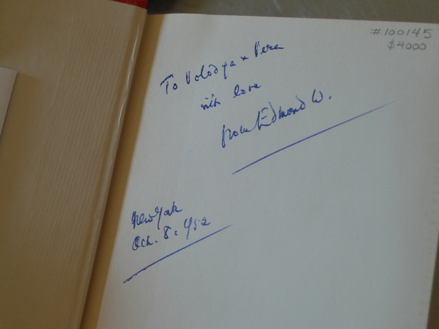Edmund Wilson's inscription to Vladimir Nabokov and his wife Vera in an edition of Wilson's
