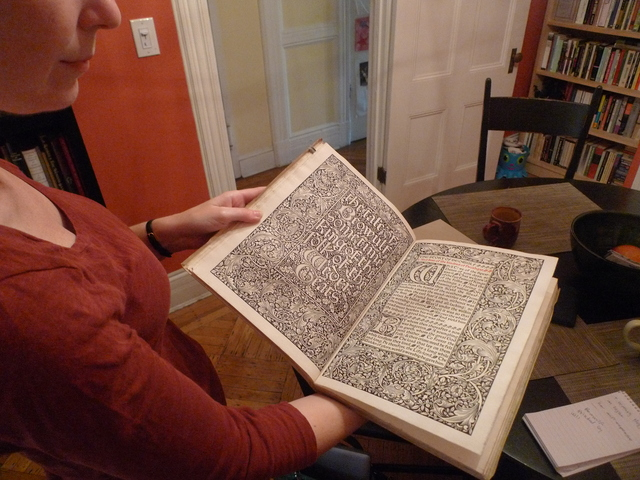 Heather O'Donnell of Honey & Wax Booksellers shows off a $8,2000 edition of