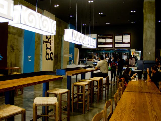 Seating at  GRK Fresh Greek, a new eatery in the Financial District that opened on  Wednesday.
