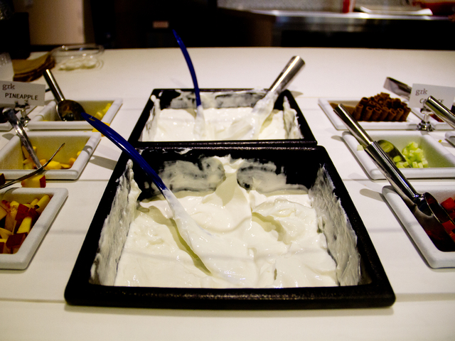 The Greek yogurt at GRK Fresh Greek, a new eatery that opened Wednesday  in the Financial District, is imported weekly from Greece.
