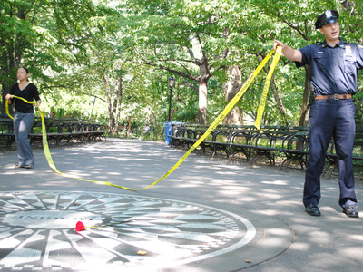 Police cleared the Strawberry Fields section of Central Park, including the nearby Imagine Circle, to investigate a sexual assault that occurred earlier Wednesday September 12, 2012.