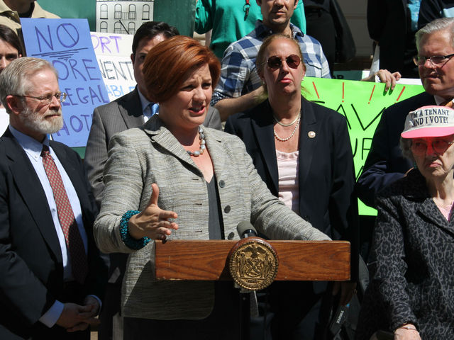 <p>City Council Speak Christine Quinn spoke about the dangerous nature of illegal hotels and their drain on affordable housing stock.</p>